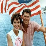 Ronald and Nancy Reagan aboard a boat in California in 1964